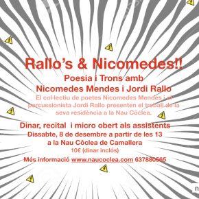 Rallo's & Nicomedes! Poesia i Trons amb  Nicomedes Mendes i Jordi Rallo 8 de desembre a les 12.
