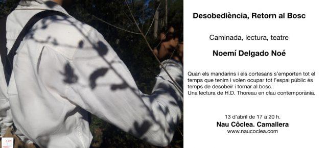 Desobediència, retorn al bosc. Caminada, lectura, teatre. Dissabte 13 d'abril de 17 a 20h.