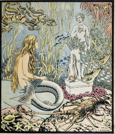 Ivan Jakovlevich Bilibin - The Little Mermaid before a statue in the sea illustration for a fairy tale by Hans Christian Andersen (1805-75) from Album du Per