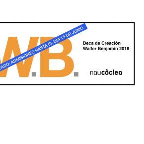 Aplazado  hasta el 10 de junio: beca de Creación Walter Benjamin 2018